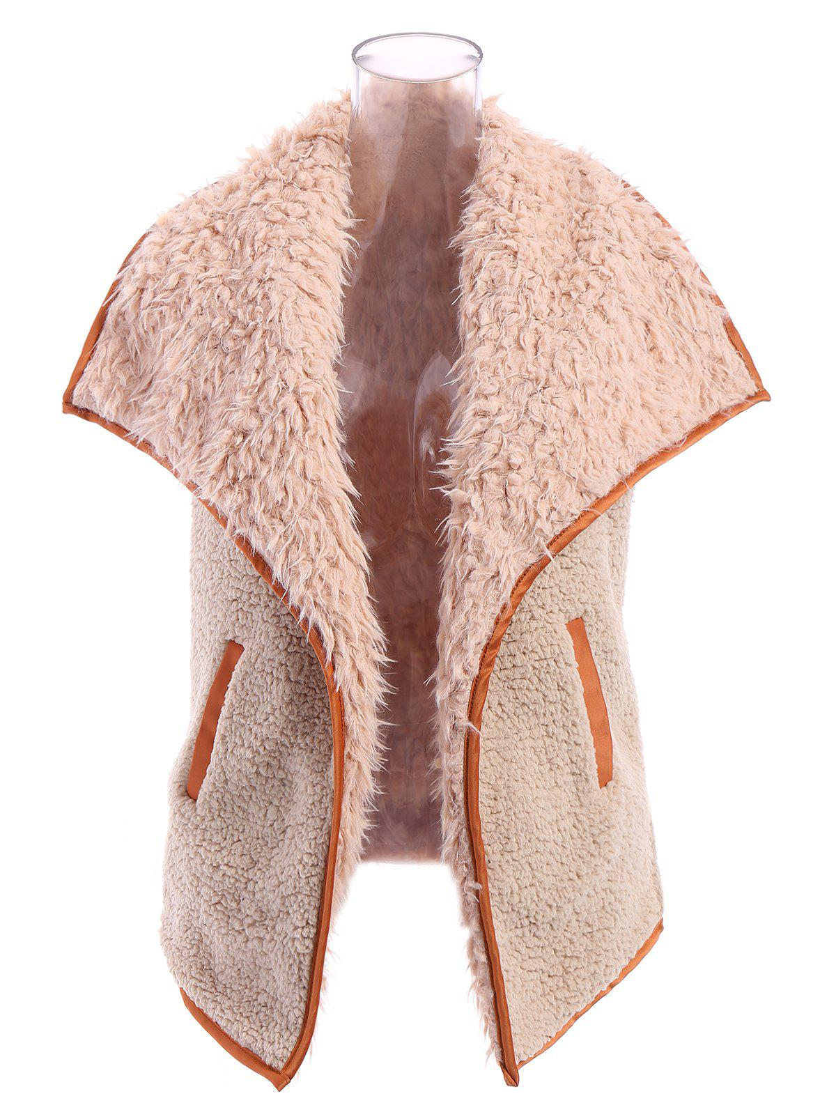 Stylish Women's Faux Fur Collar Letter Pattern Waistcoat - LIGHT KHAKI S