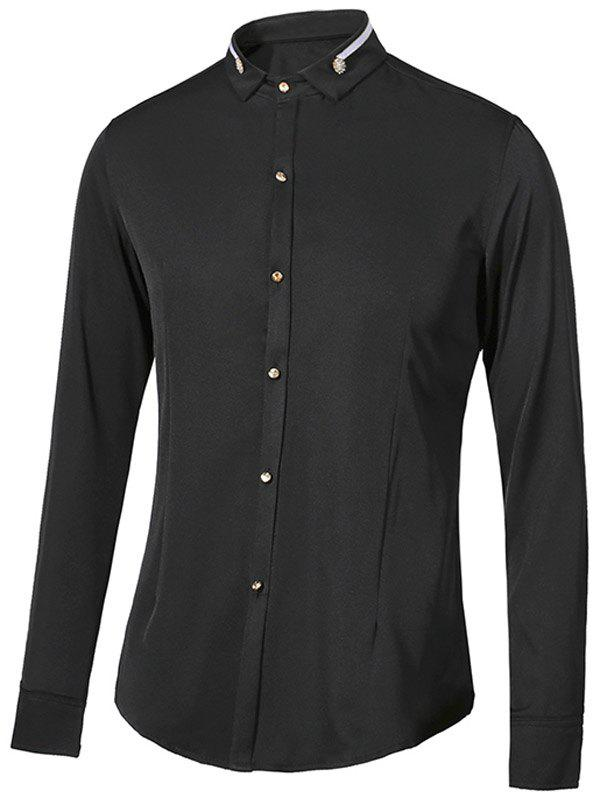 Turn-Down Collar Metal Embellished Long Sleeve Men's Shirt - BLACK XL