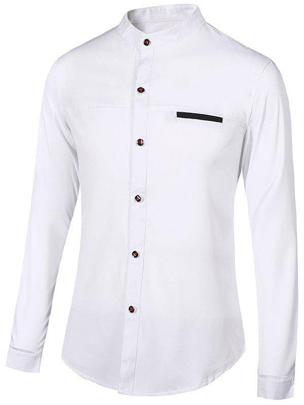 Stand Collar Edging Long Sleeve Men's Shirt - WHITE 2XL
