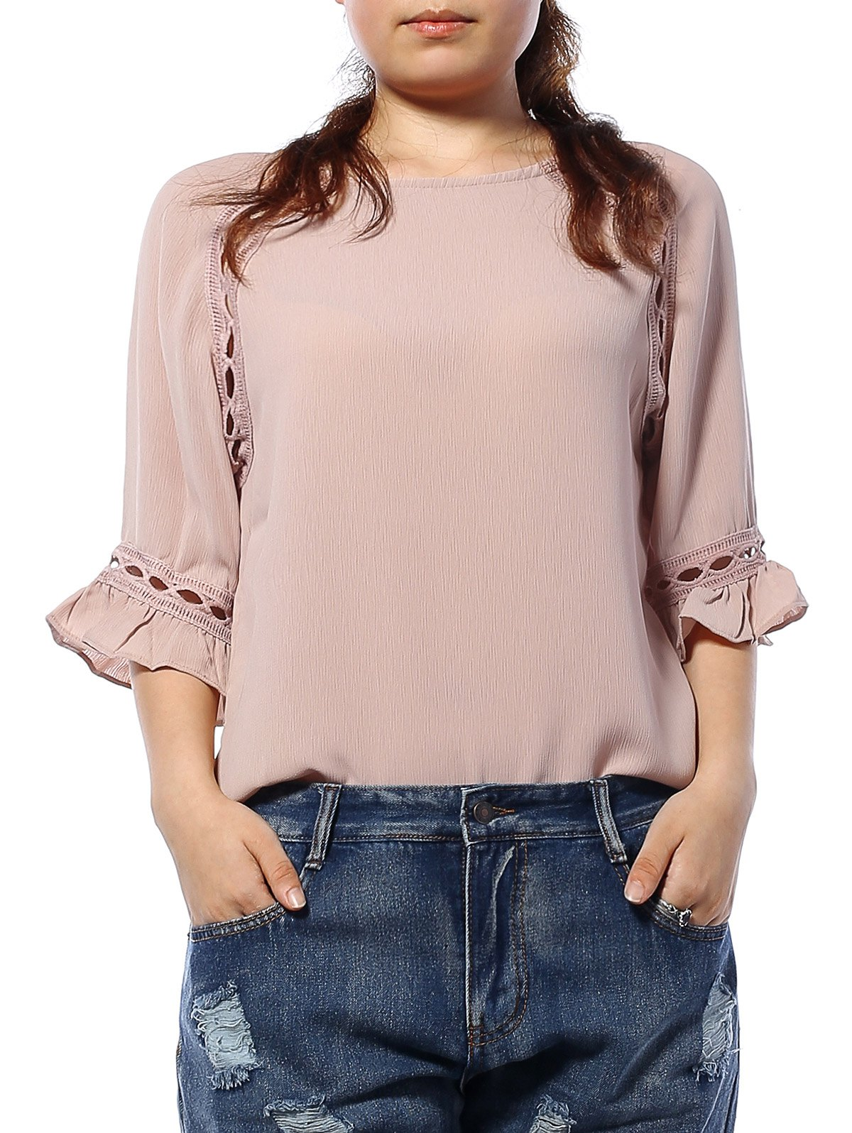 Cuff Ruffled Hollow Out Blouse - APRICOT XL