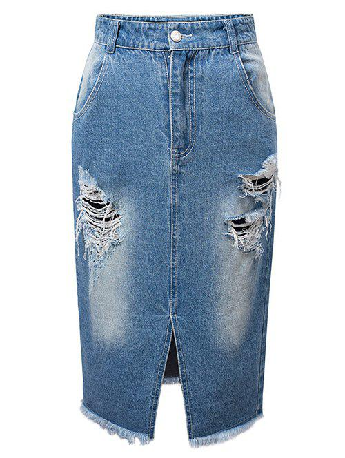 High Waist Ripped Denim Skirt - DENIM BLUE XL