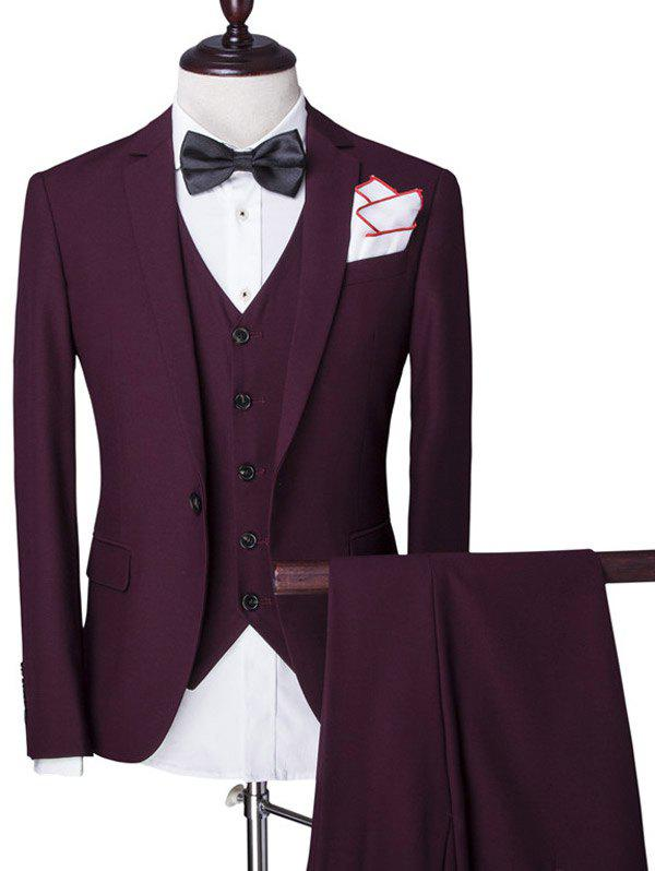 Solid Color Single Breasted Lapel Long Sleeve Men's Three-Piece Suit ( Blazer + Waistcoat + Pants ) - WINE RED L