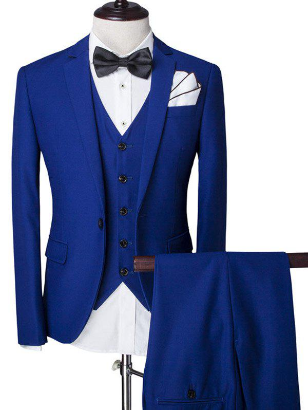 Solid Color Single Breasted Lapel Long Sleeve Men's Three-Piece Suit ( Blazer + Waistcoat + Pants )