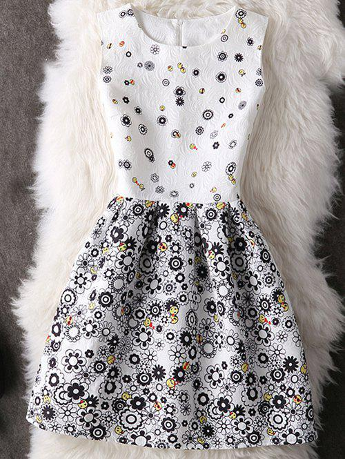 Cute Round Neck Abstract Floral Print Women's Dress
