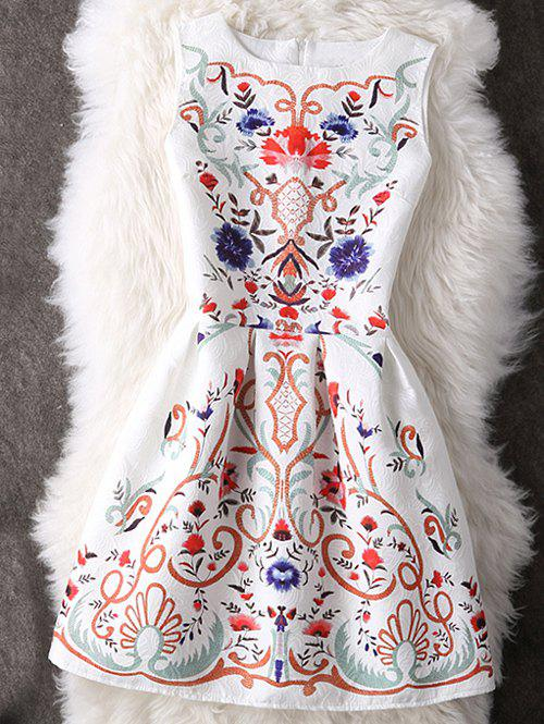 Charming Round Neck Ornate Printed Women's Dress - L WHITE
