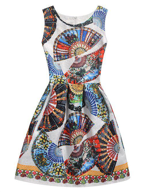 Sleeveless Tribe Print Flare Dress - COLORMIX S