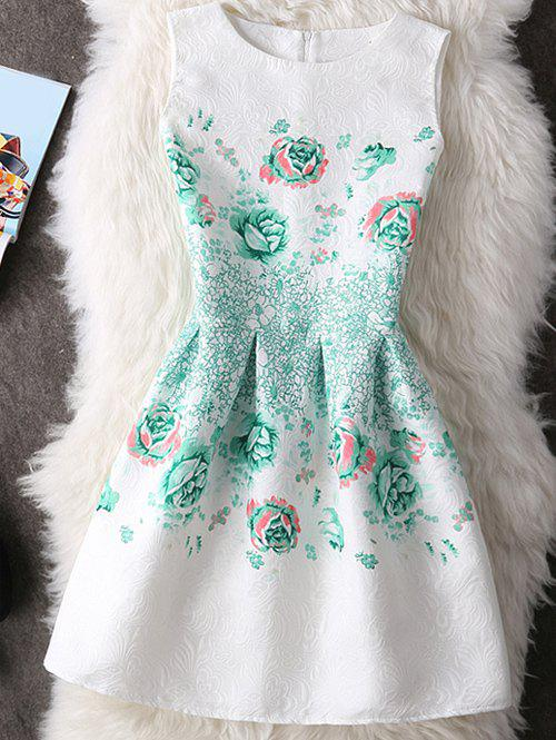 Sweet Round Neck Floral Print Slimming Women's Dress - WHITE XL