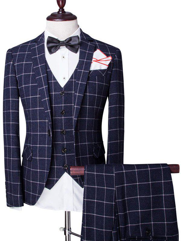 Checked Pattern Single Breasted Lapel Long Sleeve Men's Three-Piece Suit ( Blazer + Waistcoat + Pants ) - CADETBLUE 2XL