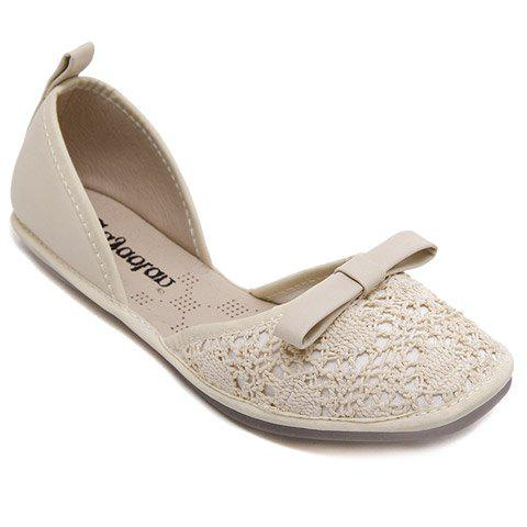 Sweet Knitted and Bow Design Women's Flat Shoes - OFF WHITE 39