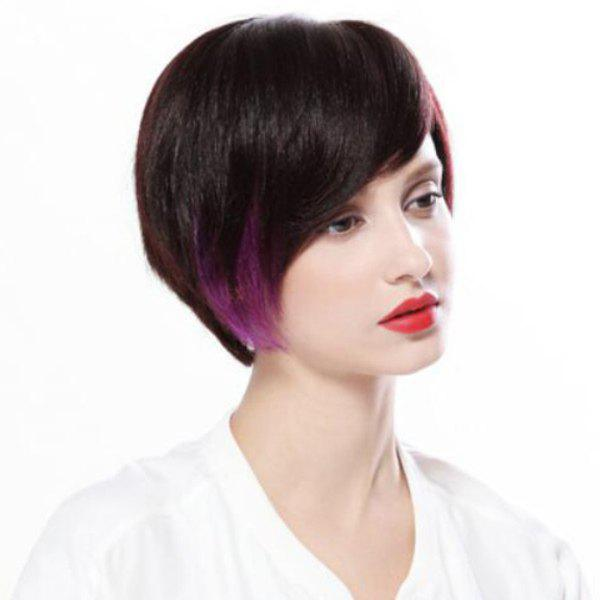 Graceful Women's Short Mixed Color Side Bang Synthetic Hair Wig