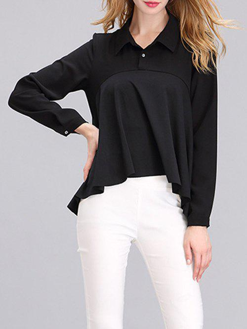 Western Style Draped Asymmetrical Blouse - BLACK S