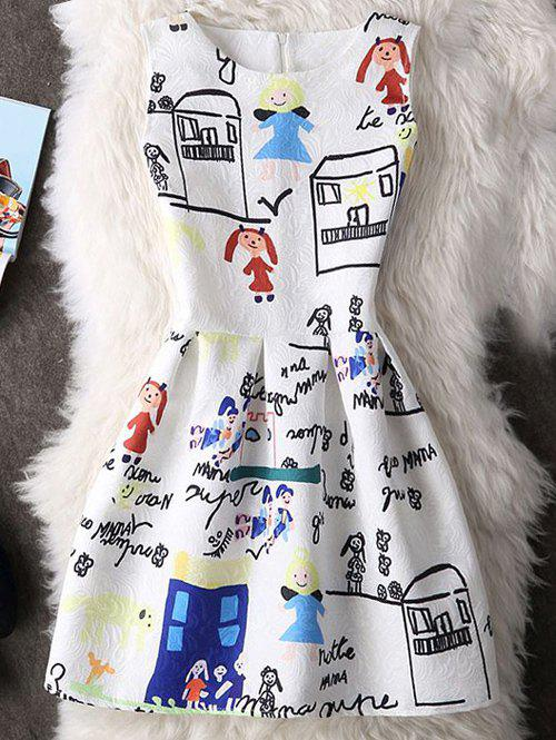 Cute Round Neck Sleeveless Cartoon Print Women's Dress - WHITE XL