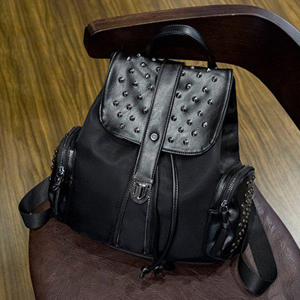 Stylish Black Colour and Splicing Design Women's Backpack - BLACK