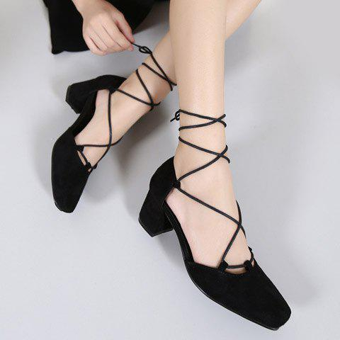 Retro Lace-Up and Suede Design Women's Pumps - BLACK 38