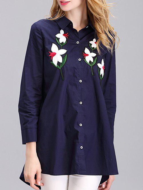 Stylish Flower Embroidered Long Shirt - DEEP BLUE XL