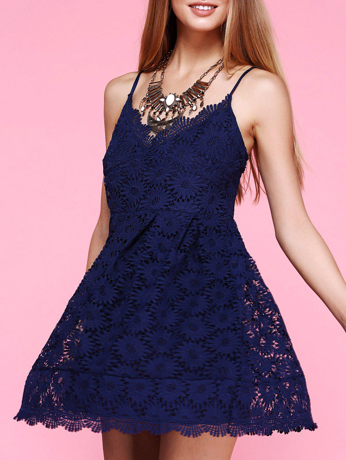Spaghetti Strap Floral Deep Blue Lace Dress