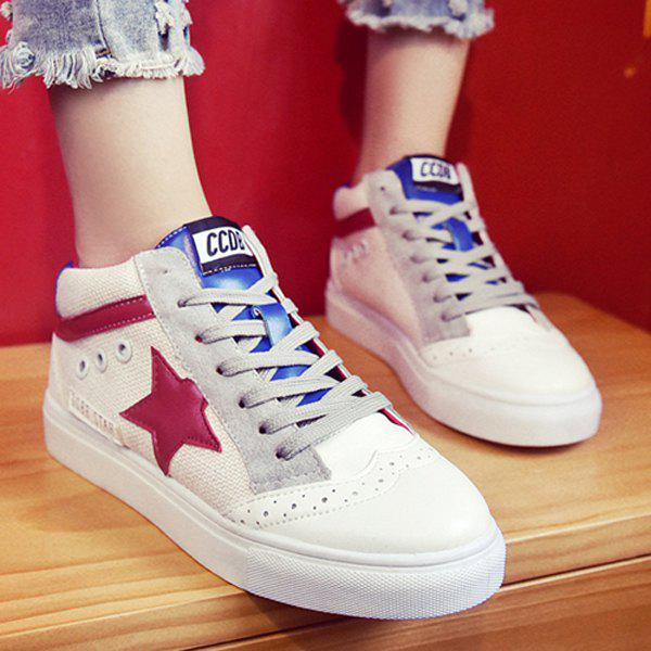 Casual Tie Up and Star Pattern Design Women's Athletic Shoes