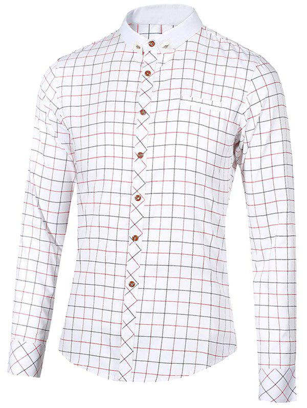 Stand Collar Checked Button-Down Long Sleeve Men's Shirt - WHITE 2XL