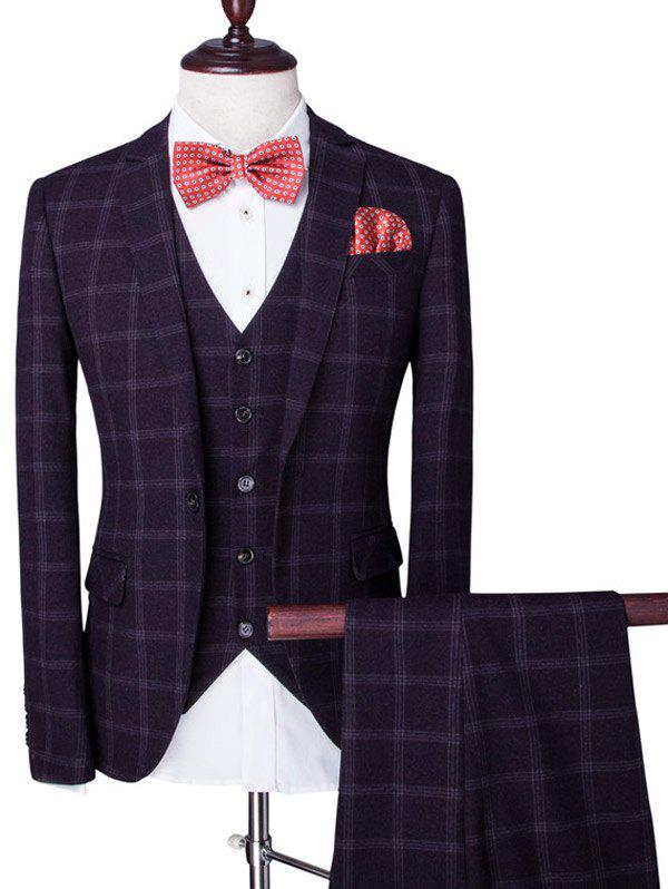 Single Breasted Plaid Lapel Long Sleeve Men's Three-Piece Suit ( Blazer + Waistcoat + Pants ) - DEEP PURPLE 2XL