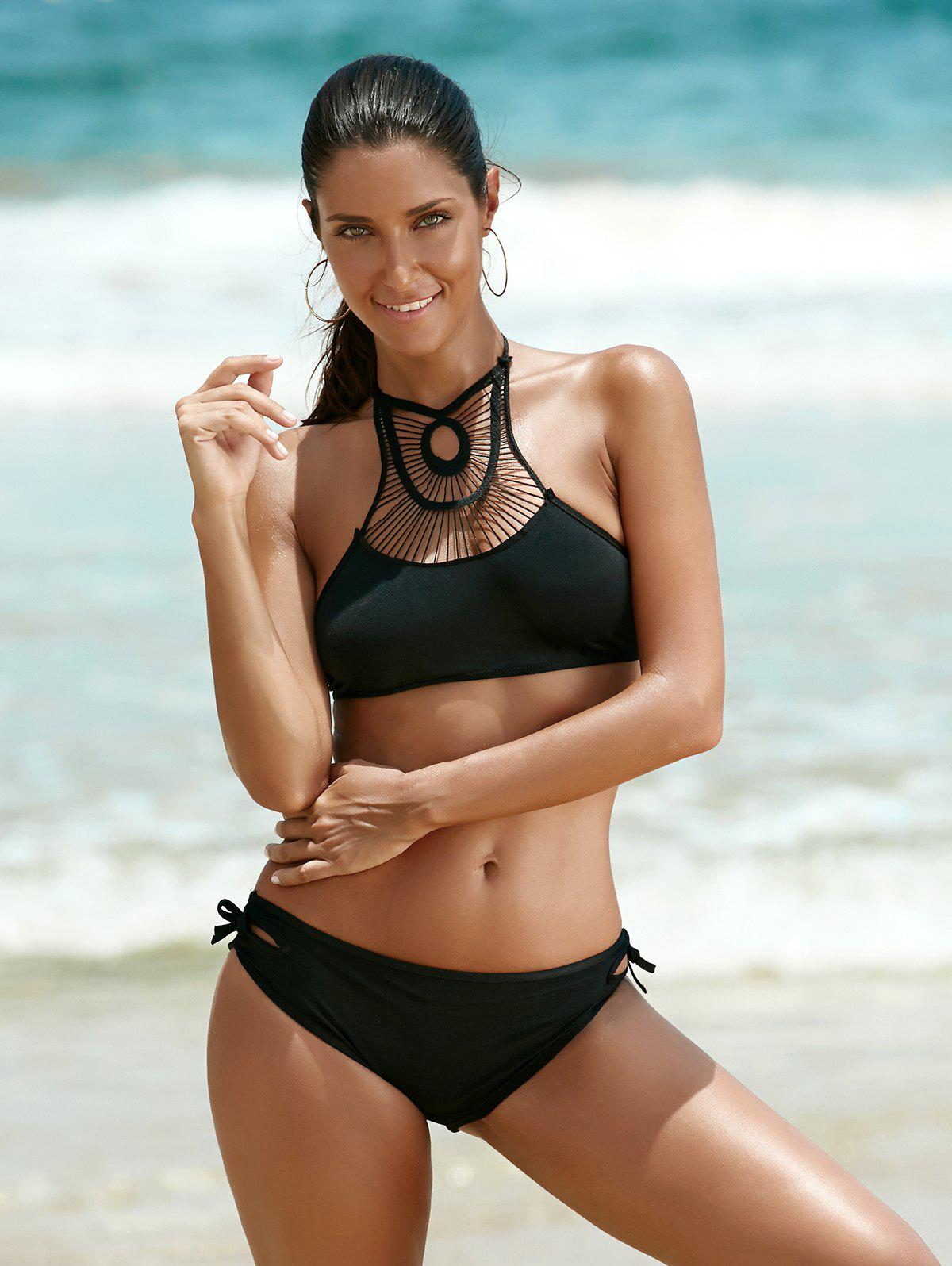 Halter Hollow Out Bikini - BLACK S