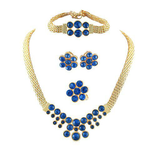 A Suit of Faux Sapphire Chunky Necklace Bracelet Earrings and Ring - SAPPHIRE BLUE
