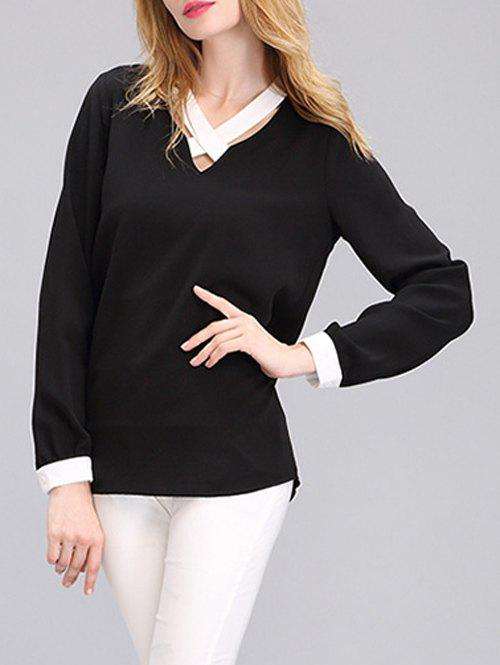Criss Cross Front Two Tone Blouse - BLACK M