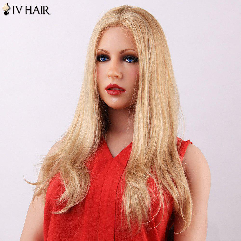 Siv Slightly Curled Middle Part Long Human Hair Capless Wig - BLONDE