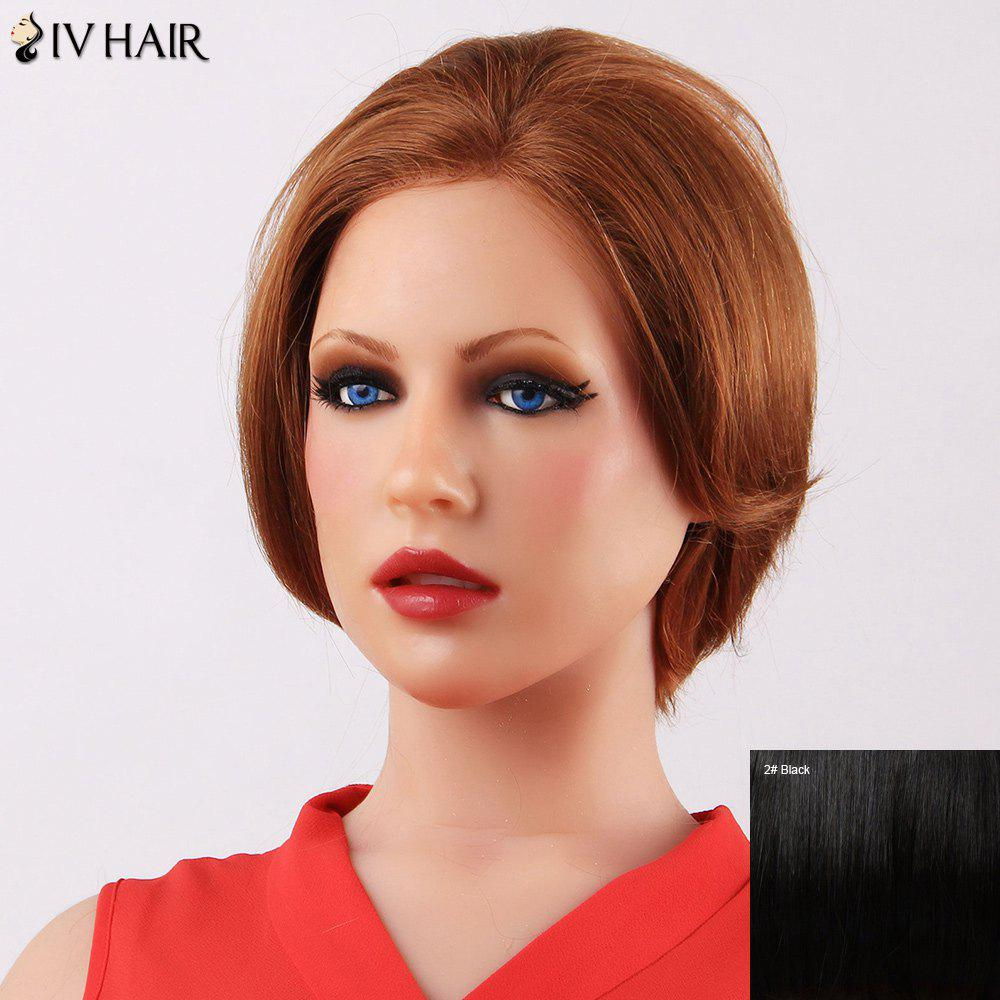 Siv Short Straight Attractive Human Hair Wig - BLACK