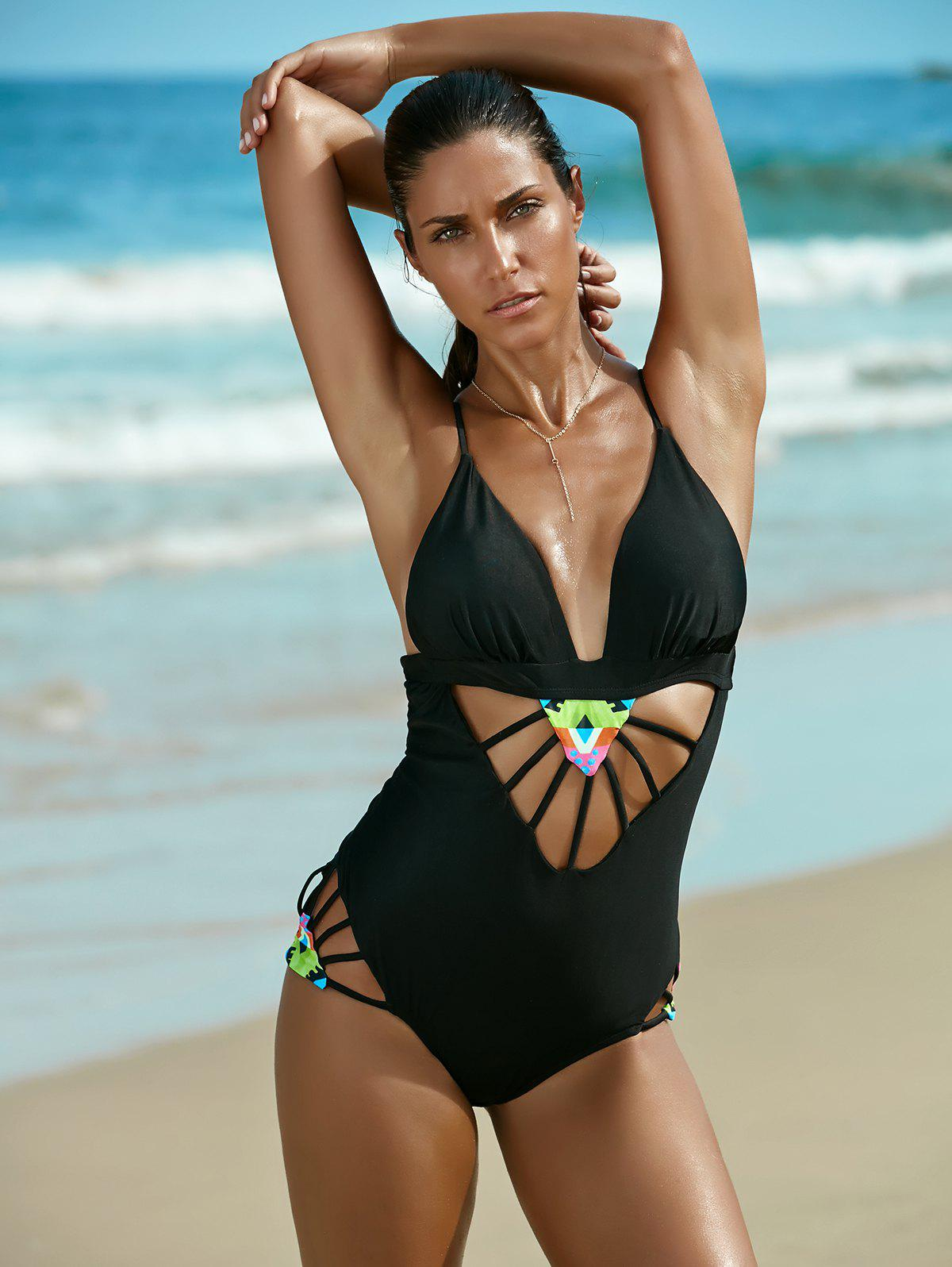 Spaghetti Strap Hollow Out One-Piece Swimwear - BLACK S
