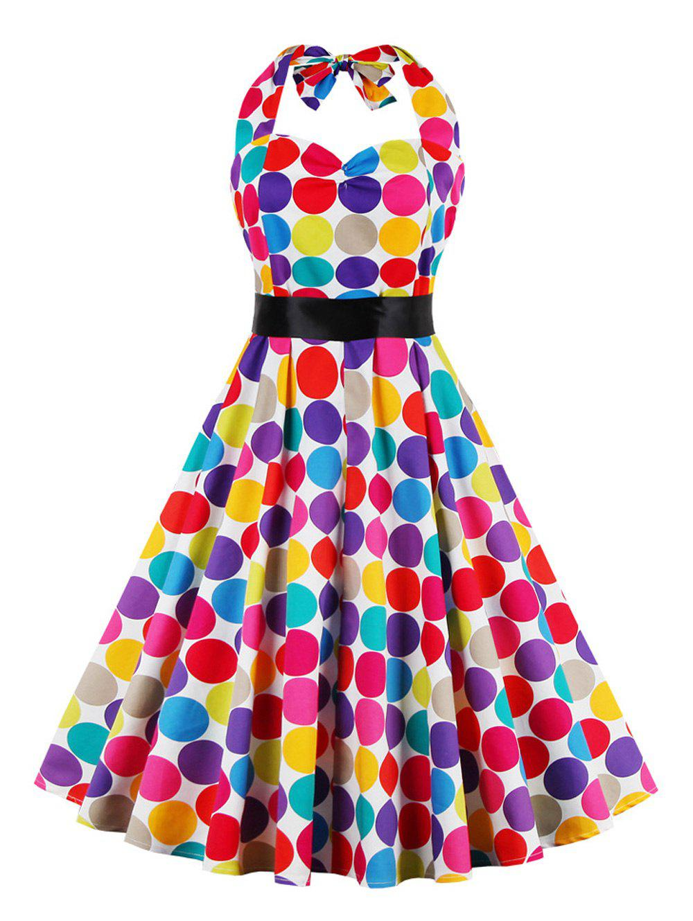 Retro Halter Sweetheart Neck Colorful Polk Dot Dress - COLORMIX L