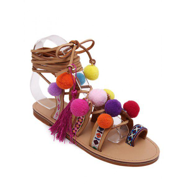 Bohemian Cross Straps and Pompon Design Women's Sandals