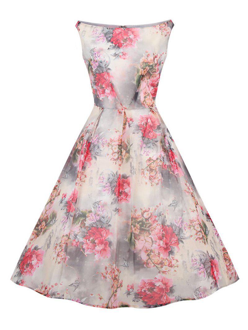 Retro Slash Neck Floral Print Fit and Flare Dress - COLORMIX 4XL