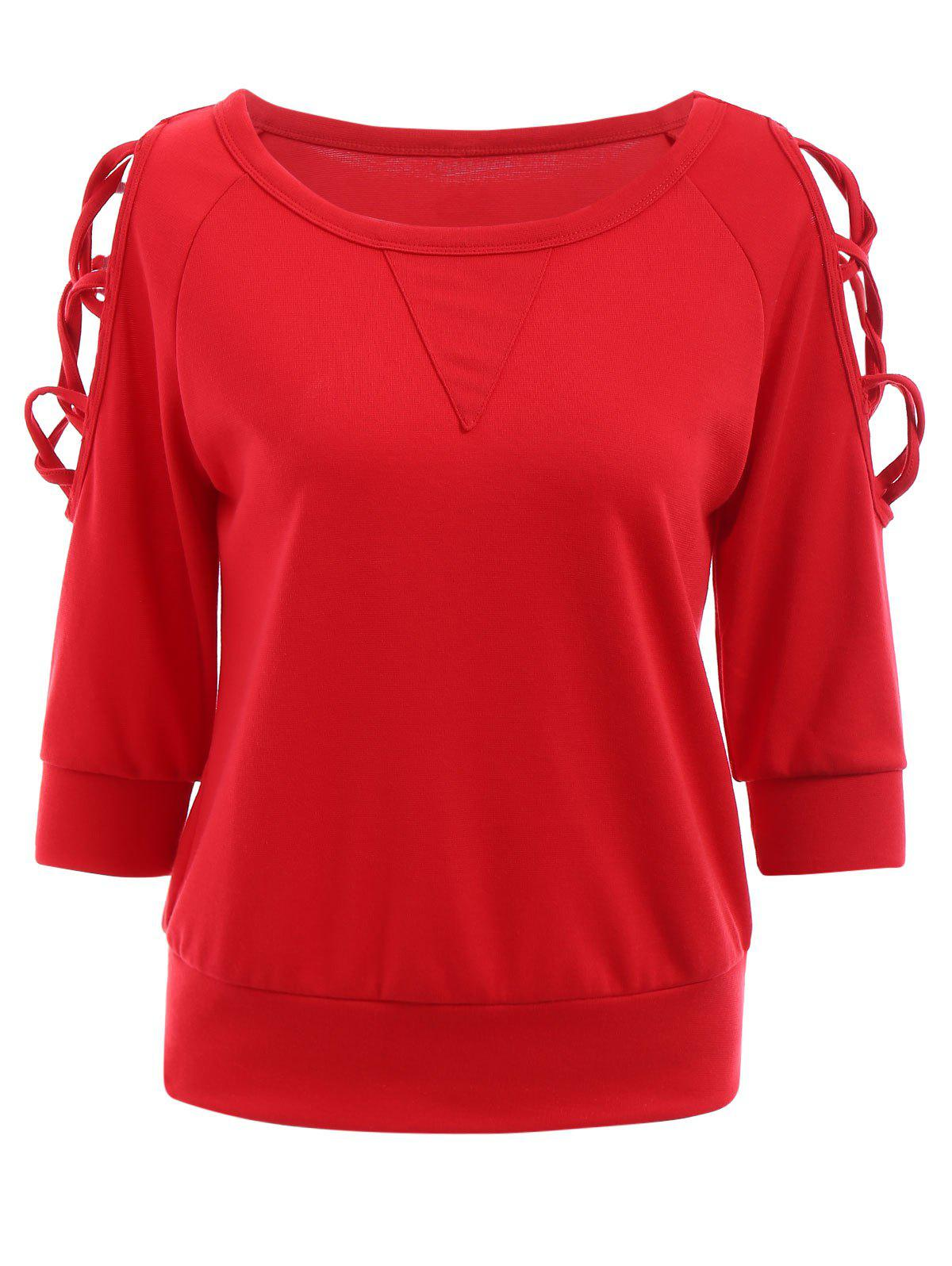Fashionable Round Neck 3/4 Sleeve Criss-Cross Hollow Out Womens Red SweatshirtWomen<br><br><br>Size: L<br>Color: RED