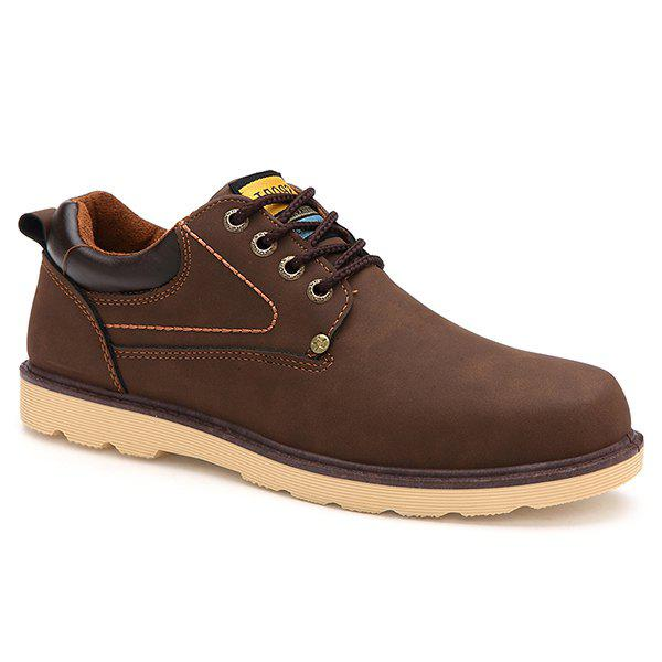 Stylish Color Splicing and Tie Up Design Men's Casual Shoes - DEEP BROWN 42