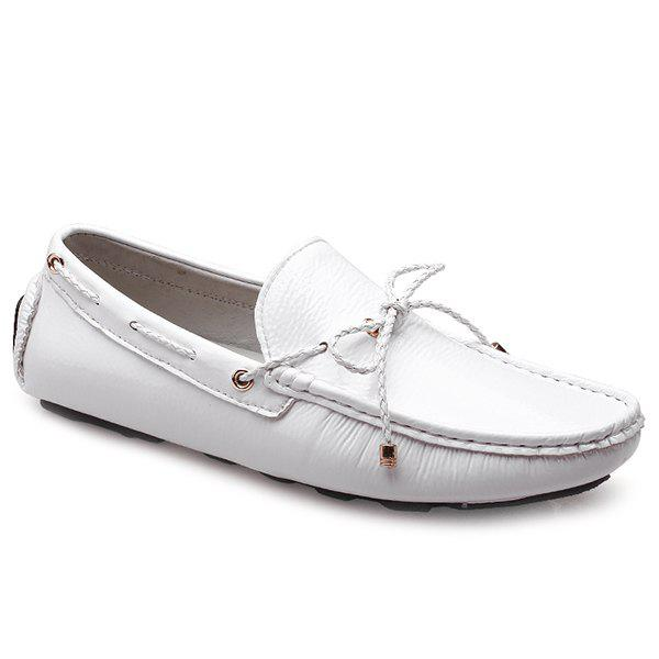 Trendy PU Leather and Tie Up Design Men's Casual Shoes - WHITE 43