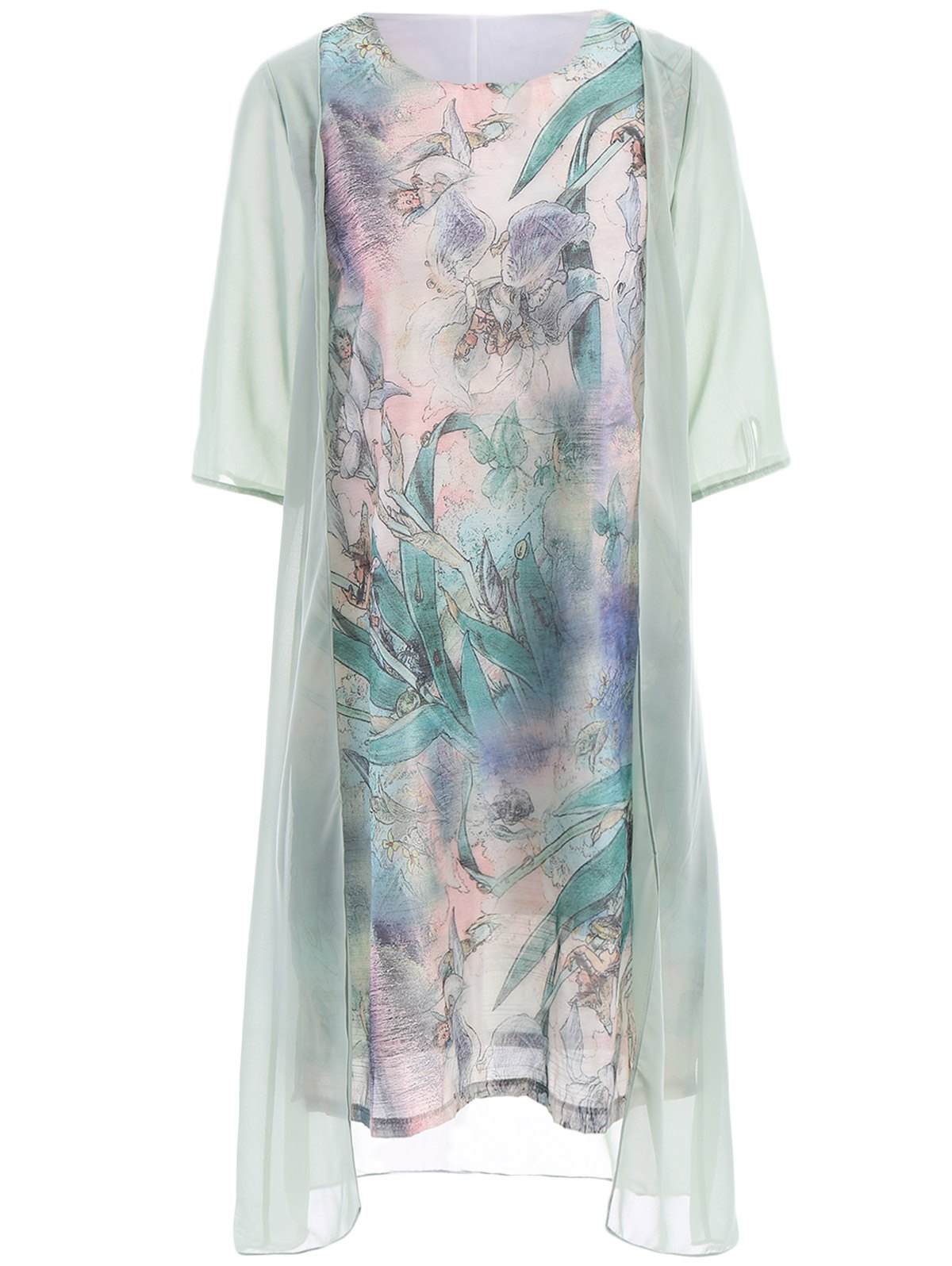 Ladylike Scoop Neck 3/4 Sleeve Floral Print Faux Twinset See-Through Women's Dress - LIGHT GREEN S