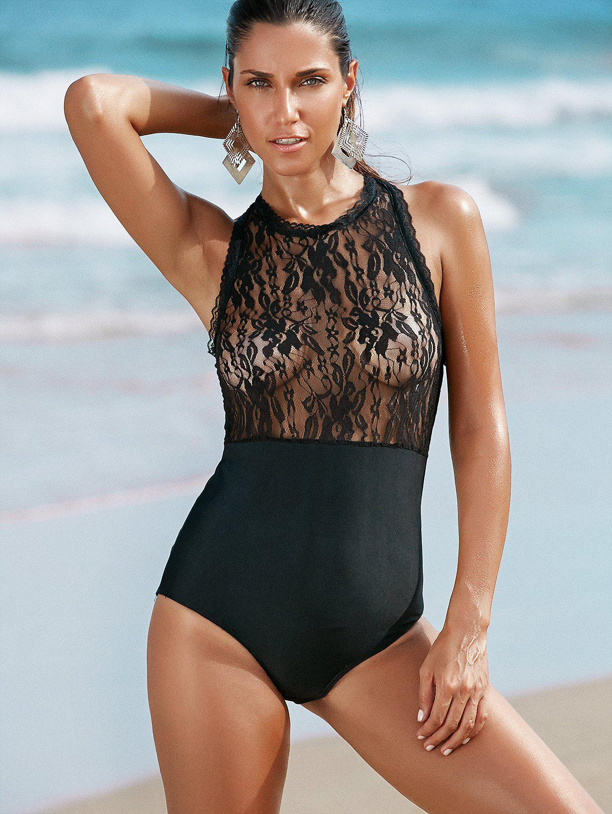 Spliced Round Neck Lace Women's One-Piece Swimwear - BLACK L