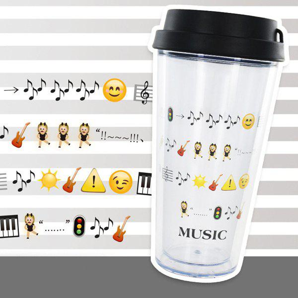 Creative Double Cartoon Expression Leakproof Cover Cup With Straw - BLACK