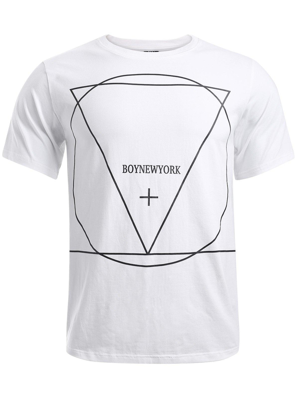 BoyNewYork Geometric Pattern Solid Color T-Shirt - WHITE XL