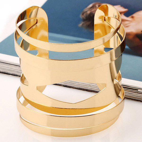 Hollow Out Geometric Cuff Bracelet - GOLDEN