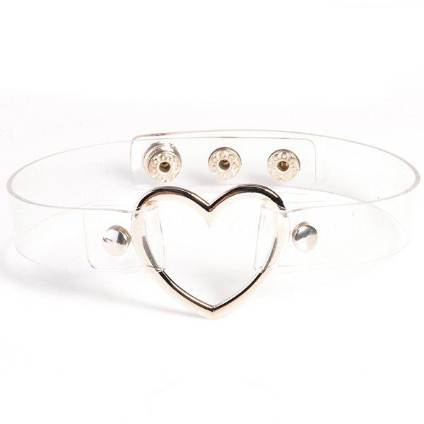 Heart PU Leather Choker Necklace - TRANSPARENT