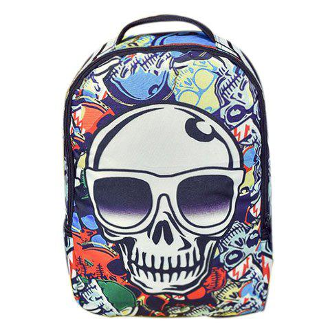 Fashionable Color Splicing and Skull Pattern Design Men's Backpack
