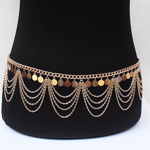 Graceful Multilayered Alloy Sequins Belly Chain For Women - GOLDEN