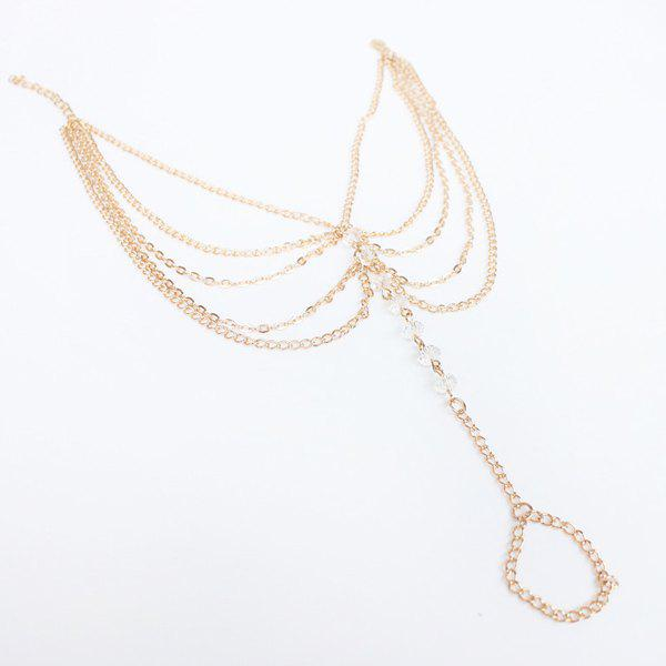 Vintage Multilayered Faux Crystal Beads Chains Anklet For Women - GOLDEN