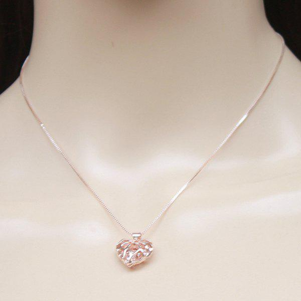 Hollow Out Engraved Heart Pendant Necklace - GOLDEN