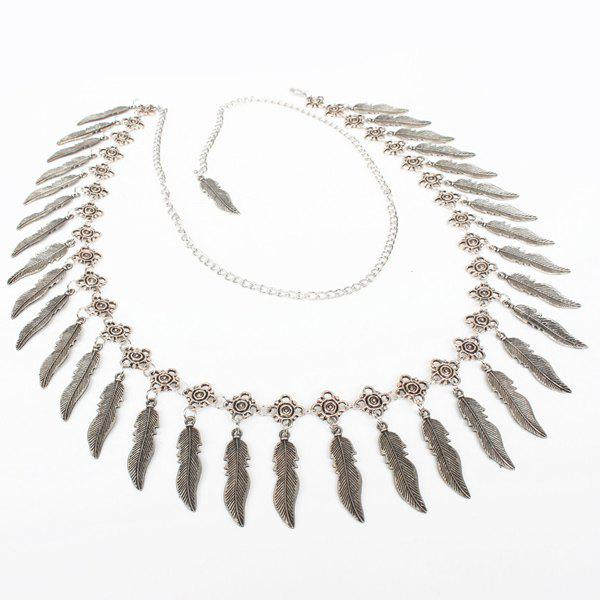 Chic Alloy Faux Feather Pendant Belly Chain For Women