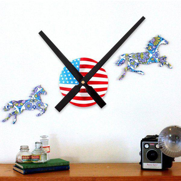 USA Flag Design DIY Large 30CM Pointer Wall Clock - Noir