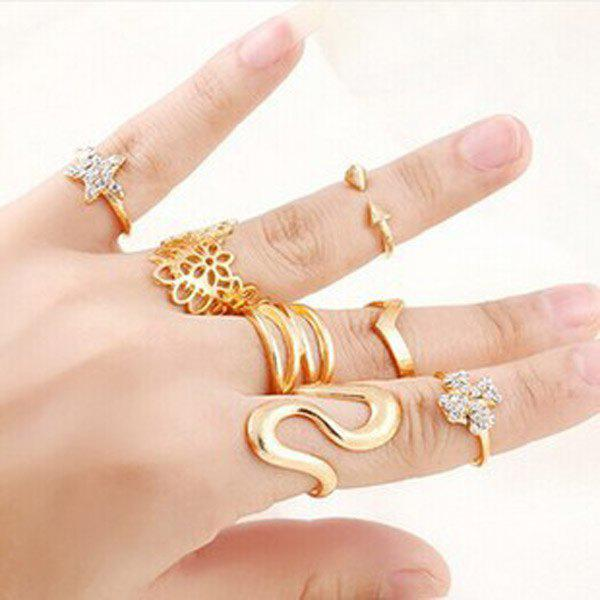 A Suit of Hollow Out Geometric Floral Star Zigzag Rings - GOLDEN