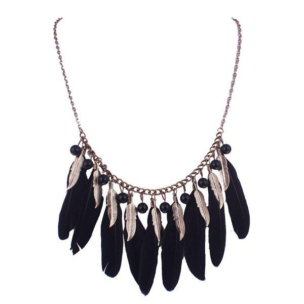 Exaggerated Leaf Black Feathers Tassel Statement Necklace For Women