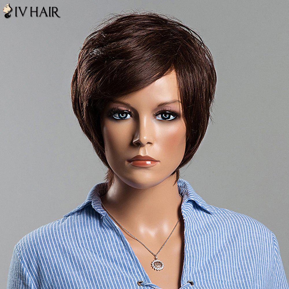 Charming Short Fluffy Straight Side Bang Women's Siv Human Hair Wig - DARK BROWN